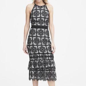 Banana Republic Lace Midi Dress B&W Size 0